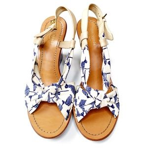 Kate Spade Seagull Fabric Knot Wedges Blue 9.5